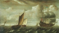 a man of war and dutch shipping vessels on the zuider zee by jacob gerritz loef