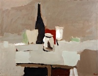 table top still life with bottles and jars by george kennerley