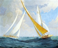 sailing on the lake by albert angus macdonald