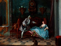 an interior with a sleeping lady holding a letter and a gentleman seated beside her by michel barthelemy olivier