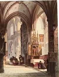 interieur einer gotischen kirche by jules victor genisson