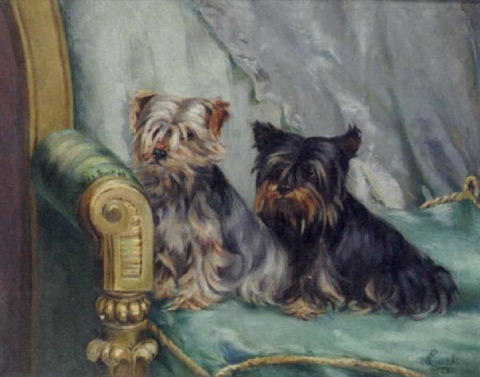 two yorkshire terriers seated on a green chair by evelyn lock