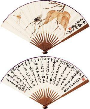 秋叶草虫图 行书 (dragonfly) (+ calligraphy by xu shizhang, verso) by qi baishi