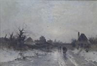 holländische dorfstraße im winter by heinz flockenhaus