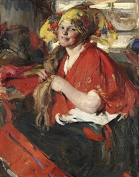 a peasant woman in a red shawl by abram efimovich arkhipov