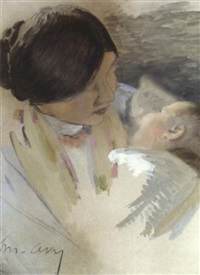 mother and child by joseph-marius avy
