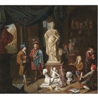 a patron surveying a sculptor's studio by nicolaes van den bosch