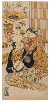 l'acteur ogino isaburo joue du shamisen, guitare japonaise (hosoban urushi-e) by okumura toshinobu