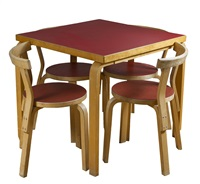 table and chairs (set of 4) by alvar aalto