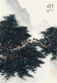 松猿图 立轴 设色纸本 by li xiongcai