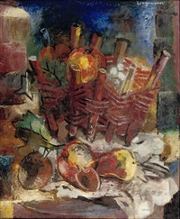 a still life with a wicker basket by jaap wagemaker
