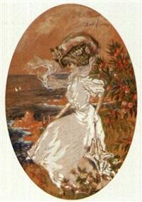 jeune élégante au bord de la mer by abel faivre