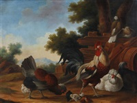 exotic birds in a landscape (pair) by marmaduke cradock