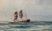 a sailing ship by ludvig otto richarde