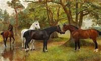 hvide, sorte of brune heste ved et vandhul under nogle træer by robert rasell