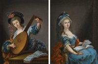 a woman reading (+ a woman playing the lute; pair) by luis alcázar y paret