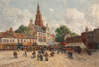 marktplatz von bolsward (holland) by jean thery
