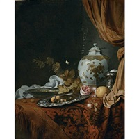 a blue and white facetted vase, a rose and walnuts on a pewter plate, a wanli kraak porcelain bowl, a silver wine cooler, a wineglass, a glass, a lemon and roses on a draped table by joseph de bray