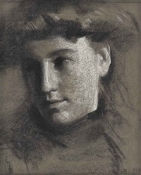portrait study of a young woman by eric henri kennington