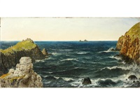 low water and bad weather, kingsale rock, plymouth, cornwall; uncertain weather at pol pre, land's end. the brisons in the distance by henry edward spernon tozer