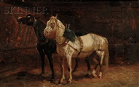 two horses in a stall by scott leighton