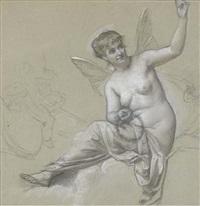 une femme nue assise avec des ailes de papillons tenant une couronne de fleurs, avec une étude de putto by alexis joseph mazerolle