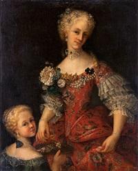 kvinna och barn med broderade klänningar by sebastiano ceccarini