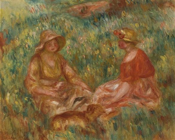 deux filles dans un pré (deux femmes dans l'herbe) by pierre-auguste renoir