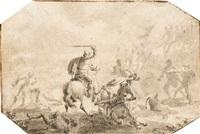 zwei kämpfende panzerreiter und kämpfende fußsoldaten (+ figurenstudie, verso) by johann philipp lemke