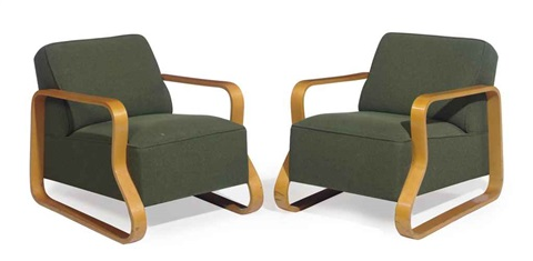 model 44 armchairs pair by alvar aalto