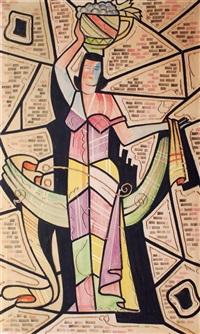 stilisierte frauenfigur mit fruchtkorb by otto fischer-trachau