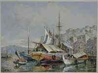 harbor scene with sailing boats by antonis kanas