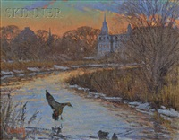 duck alighting at sunset by thomas r. dunlay