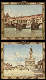 the ponte vecchio, florence (+ the palazzo vecchio, florence; pair) by frans vervloet