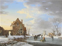 a winter's evening dortrecht by a. de groote