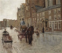 rokin with the nieuwezijdskapel, amsterdam by george hendrik breitner