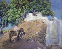 niño con burro by federico godoy y castro