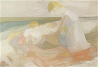 mother and child on beach by mary clark holderness