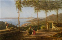grape pickers on a terrace, a view of the bay of naples beyond by achille solari