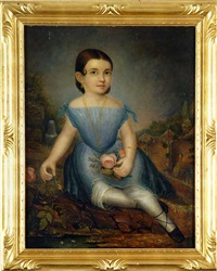 portrait of a small child with pink rose by daniel f. ames