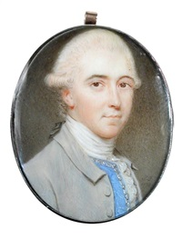 a gentleman, wearing a pale grey coat, blue waistcoat with trim and tied white stock and ruff, his powdered hair worn en queue with black ribbon bow by john smart