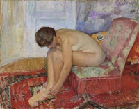 femme nue assise by henri lebasque