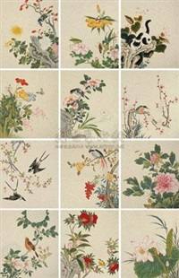 翎毛花卉册 (album w/12 works) by xu nanzhou