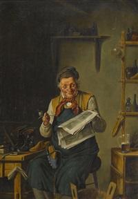 der schuhmacher beim lesen der zeitung by adolf reich