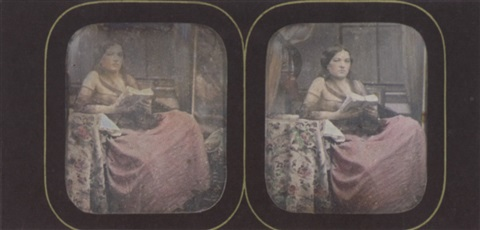 female model draped in a gossamer shawl her reflection visible in the mirror behind her by joseph auguste belloc