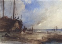 fischerboote am strand by jacob jacobs