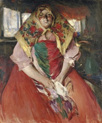a seated peasant woman by abram efimovich arkhipov
