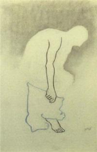 bending figure holding trousers by johann hendrikus moesman