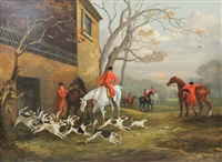 hunting scene, unkenneling hounds by edward walter webb