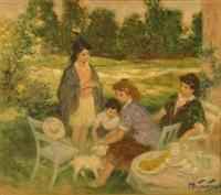 children at tea by pierre eugène duteurtre